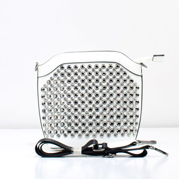 Rhinestone crossbody bag - white