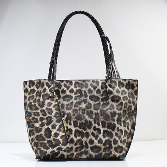 Leopard & rope handle tote - coffee