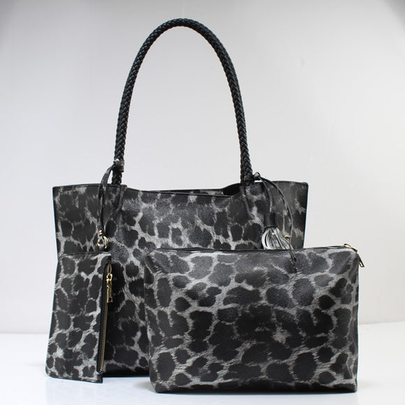 Leopard & rope handle tote - gray