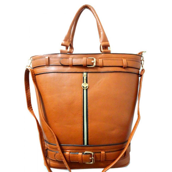 Double belted fashion tote - tan