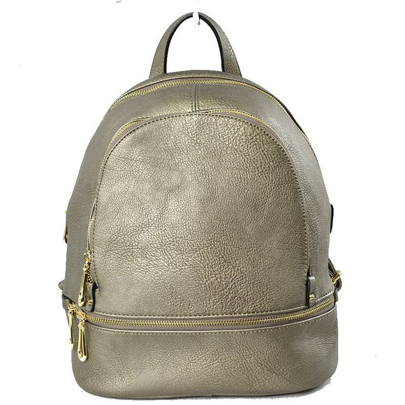 Front zip leather backapack - dark silver
