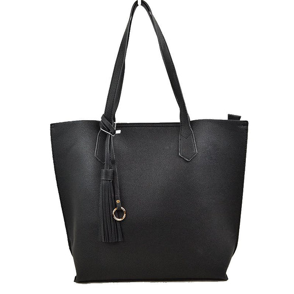 Tassel tote with pouch - black