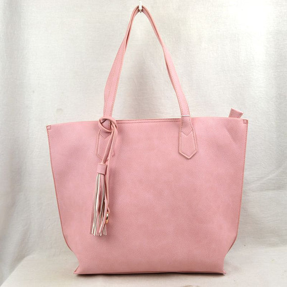 Tassel tote with pouch - blush