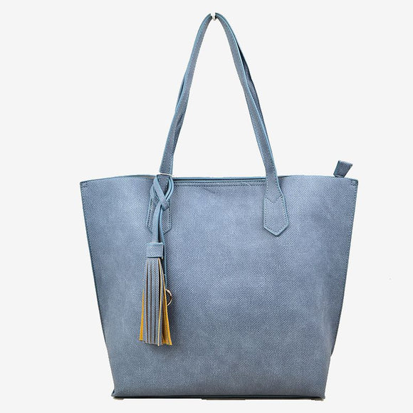 Tassel tote with pouch - blue