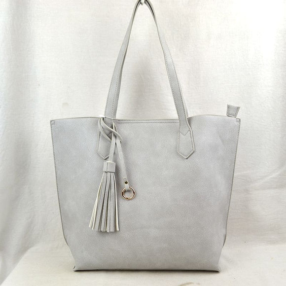 Tassel tote with pouch - grey