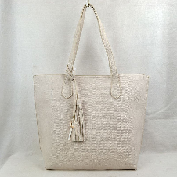 Tassel tote with pouch - off white
