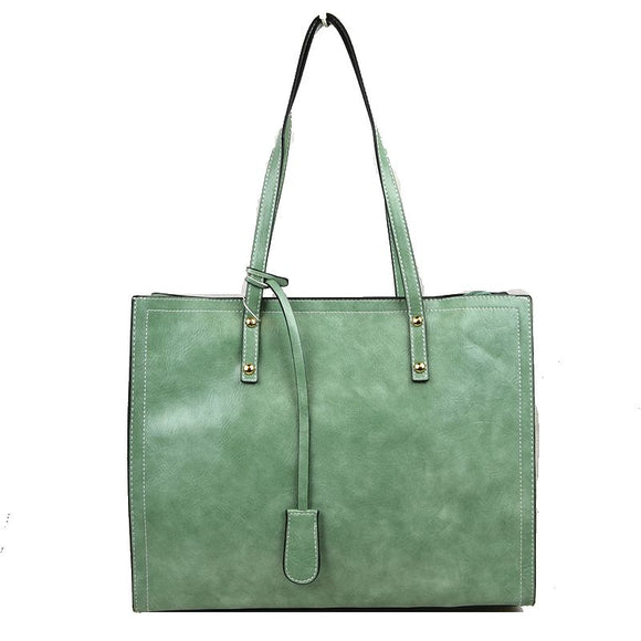 Stitch tote with pouch - mint