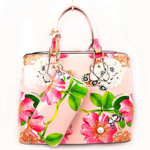 Floral & Pearl print tote with wallet - blush