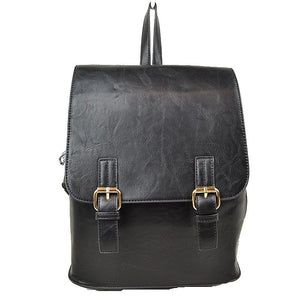 Double belted classic backpack - black