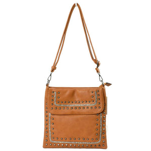 Studed crossbody bag - brown