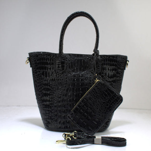 Crocodile tote set - black
