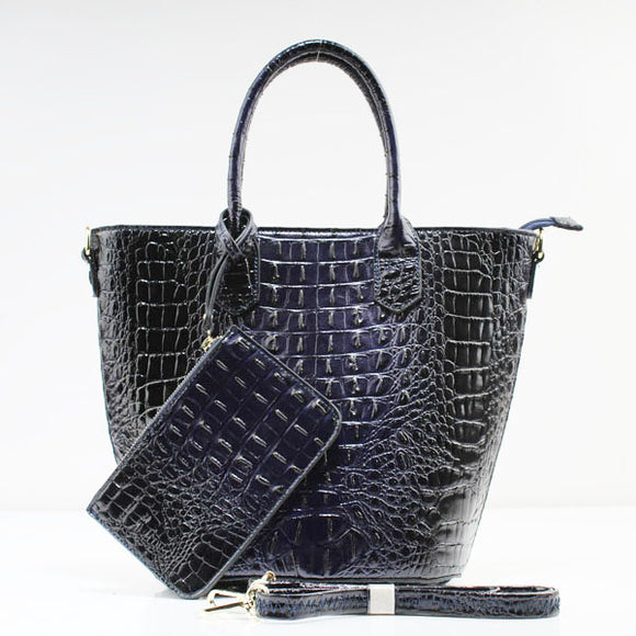 Crocodile tote set - blue