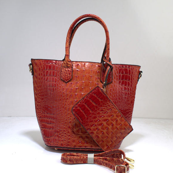 Crocodile tote set - orange