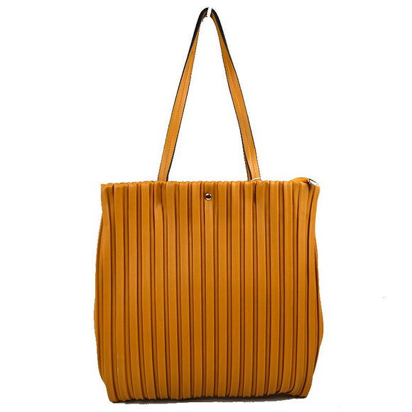 Vertical line tote - brown