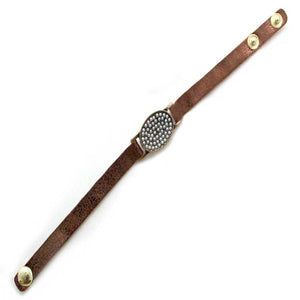 OVAL LEATHER BRACELET - PEARL