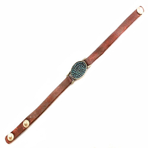 OVAL LEATHER BRACELET - TURQUOISE