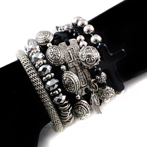Cross multi bracelet - black