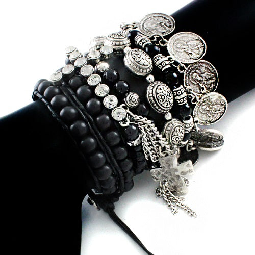 Cross w/ natural stone bracelet - black