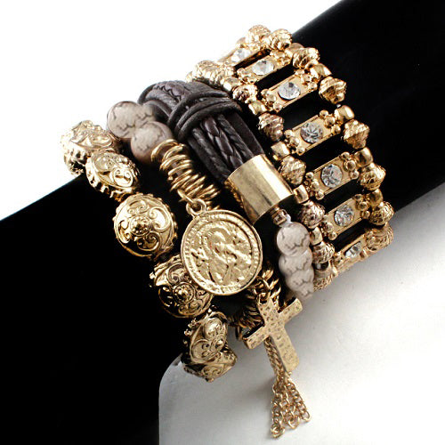 Cross w/ saint bracelet - natural