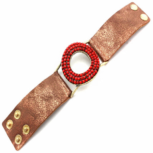 DONUT LEATHER BRACELET - CORAL RED - Pink Vanilla