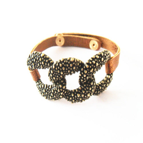 CHAIN LINK LEATHER BRACELET - GOLD - Pink Vanilla