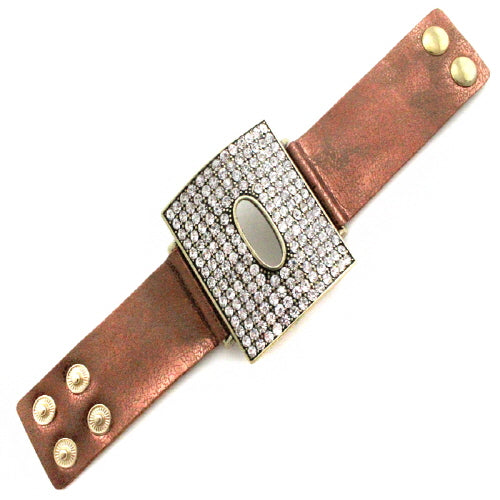 SQUARE LEATHER BRACELET - CLEAR