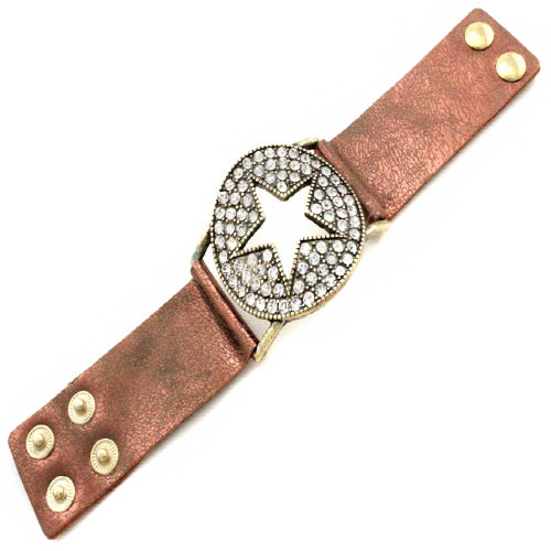STAR LEATHER BRACELET - CLEAR