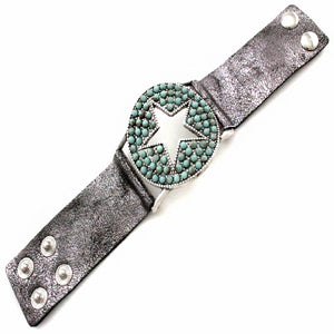 STAR LEATHER BRACELET - TURQUOISE