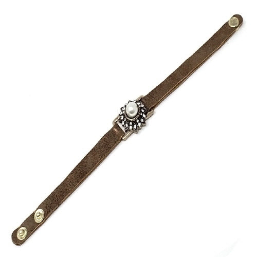 PEARL & STUD LEATHER BRACELET - GOLD