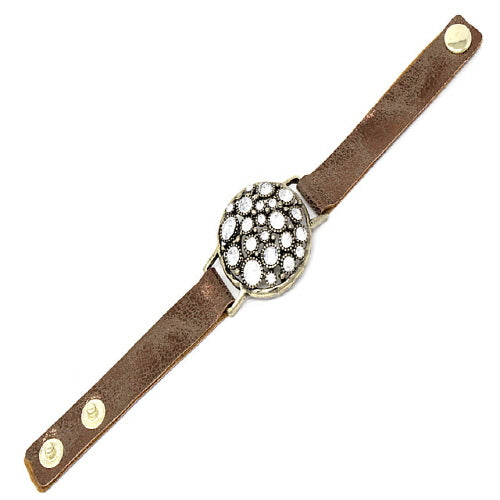 ROUND & STUD LEATHER BRACELET - GOLD