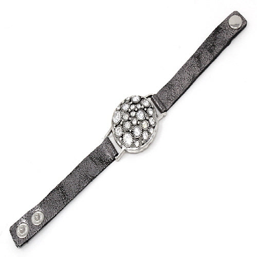 ROUND & STUD LEATHER BRACELET - SILVER