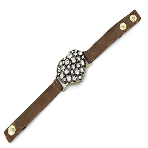HEART & STUD LEATHER BRACELET - GOLD