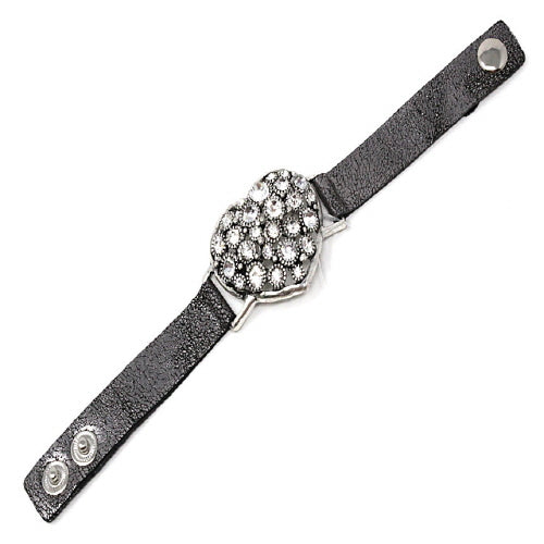 HEART & STUD LEATHER BRACELET - SILVER