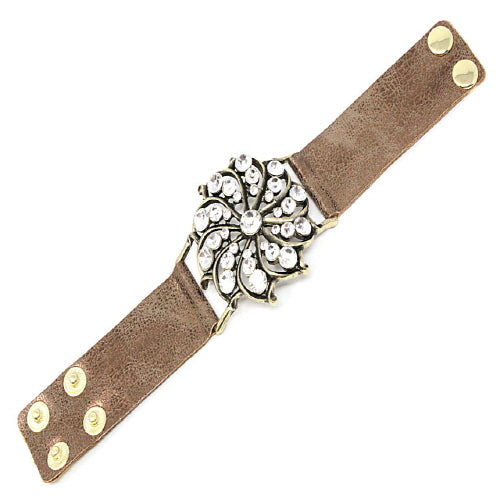 FLOWER & STUD LEATHER BRACELET