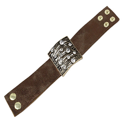 SQUARE LEATHER BRACELET - GOLD