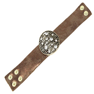 ROUND LEATHER BRACELET - GOLD