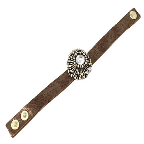 FLOWER THEME LEATHER BRACELET - GOLD