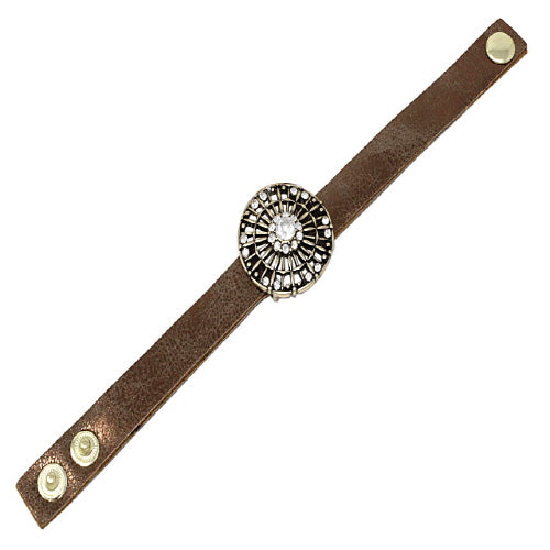 ROUND LEATHER BRACELET - BURN GOLD