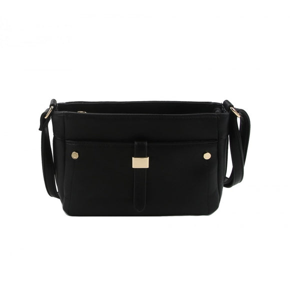 Front pocket crossbody bag - black