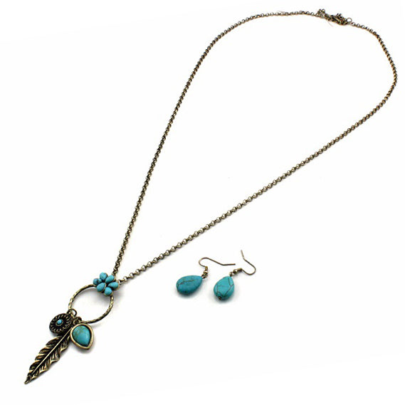 Bohemian feather necklace set - gold