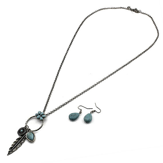 Bohemian feather necklace set - silver