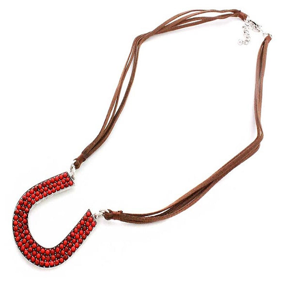 Horseshoe necklace set - coral