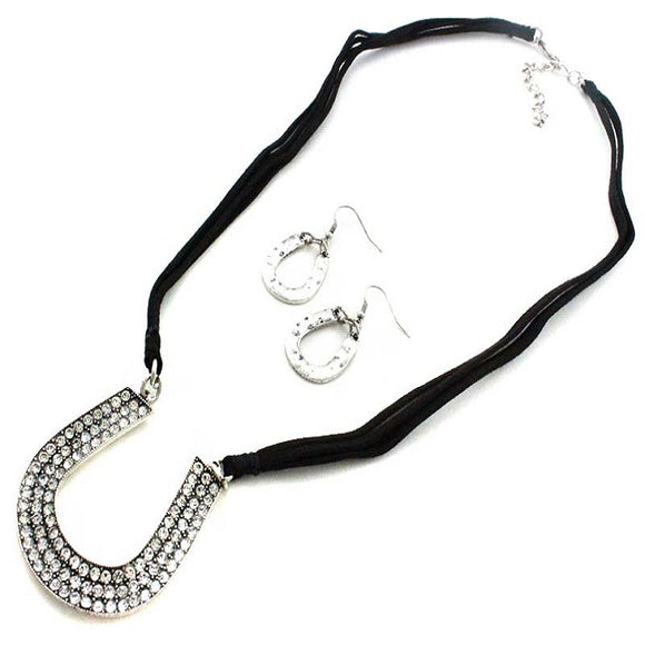 Horseshoe necklace set - clear
