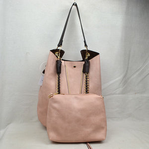 V zip shoulder bag - blush