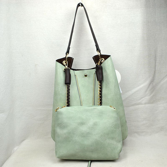 V zip shoulder bag - mint