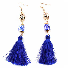 Flower and tassel earring