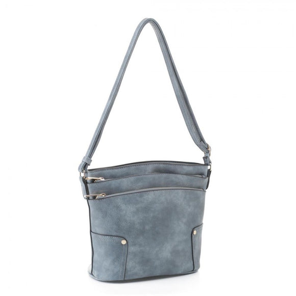 Triple zipper crossbody bag - blue