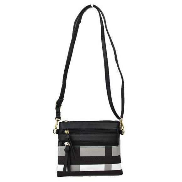 Plaid & double zip crossbody bag - black
