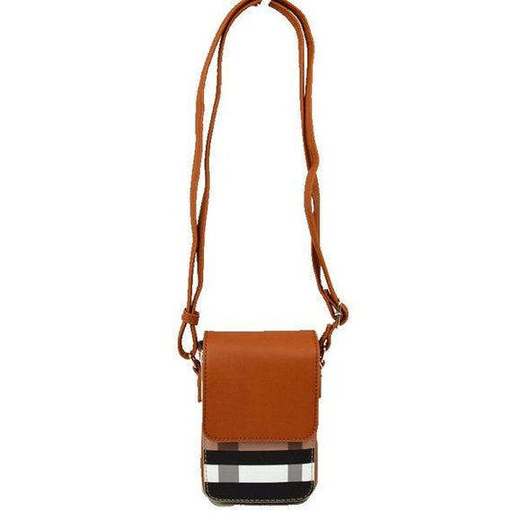 Cellphone plaid pattern crossbody bag - brown