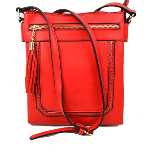 Front zip & tassel crossbody bag - red